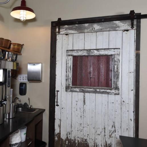 real antique wood barn door white
