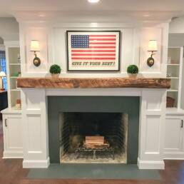 real antique wood Smith fireplace mantel