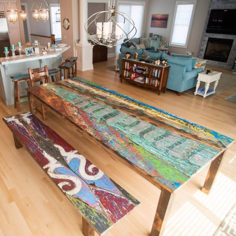 real antique wood table Taylor 5 social