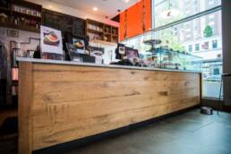 salvaged wood supplied for Jersey City coffee shop